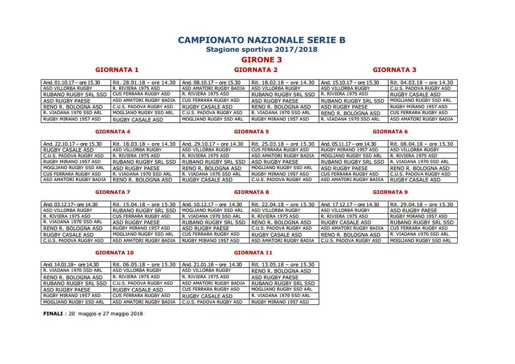 2017-2018 Calendario Serie B